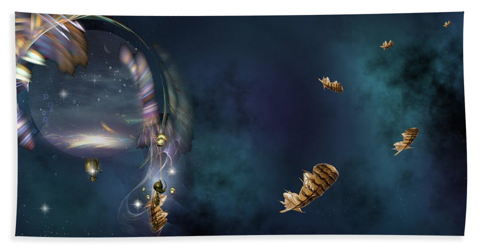 Phil Sadler Hand Towel featuring the digital art A Catcher Of Dreams by Phil Sadler
