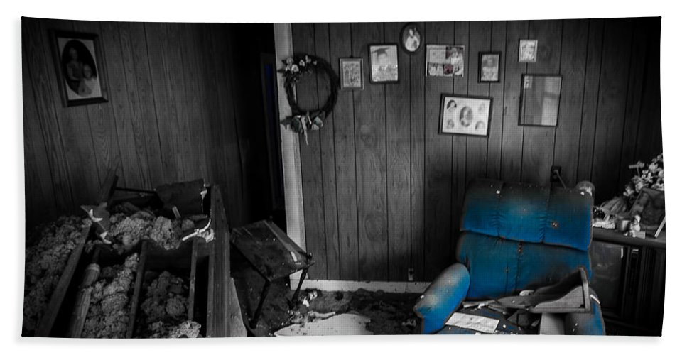 Abandoned Hand Towel featuring the photograph A Chair In Blue by Ken Frischkorn