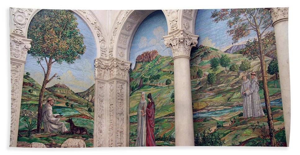 Mosaic Hand Towel featuring the photograph A Chapel's Mosaics by Cora Wandel