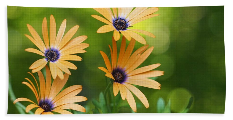 Flowers Bath Sheet featuring the photograph A Cheerful Symphony by Dorothy Lee