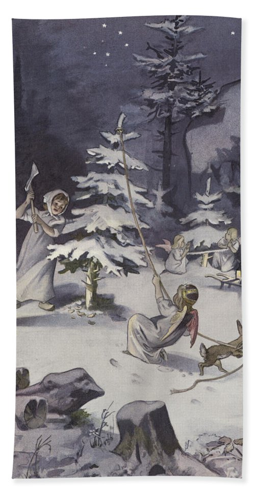 Winter Hand Towel featuring the painting A Cherub Wields An Axe As They Chop Down A Christmas Tree by French School