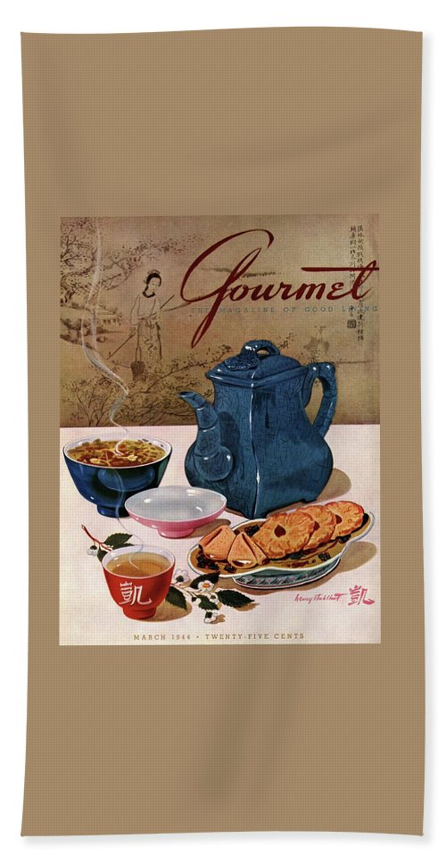 Food Bath Towel featuring the photograph A Chinese Tea Pot With Tea And Cookies by Henry Stahlhut