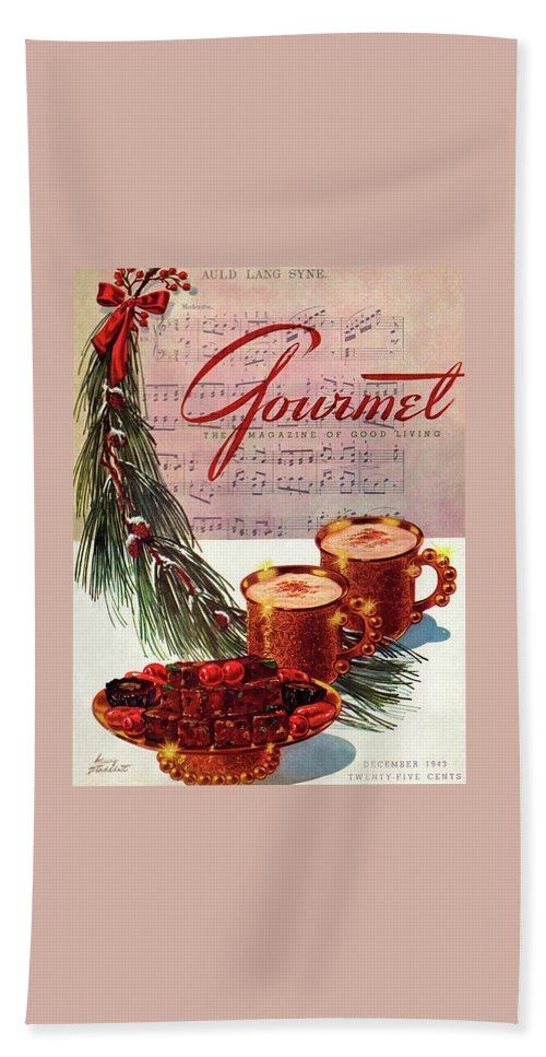 Illustration Bath Towel featuring the painting A Christmas Gourmet Cover by Henry Stahlhut