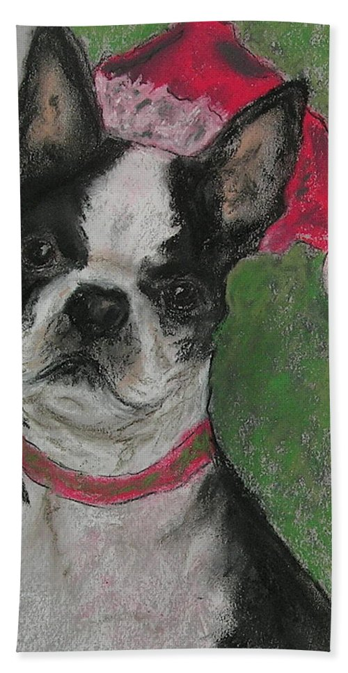 Boston Terrier Hand Towel featuring the drawing A Christmas Terrier by Cori Solomon