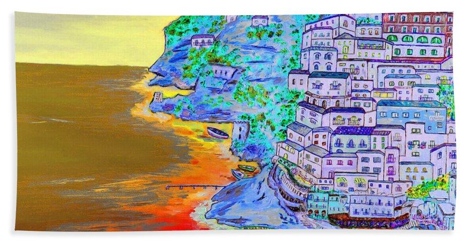 Loredana Messina Bath Sheet featuring the painting A Coastal View Of Positano by Loredana Messina