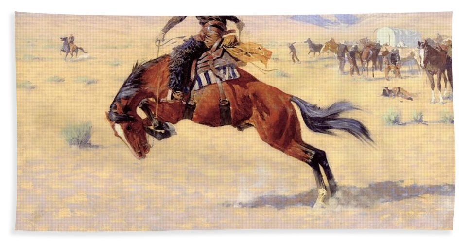 A Cold Morning On The Range Hand Towel featuring the digital art A Cold Morning On The Range by Frederic Remington