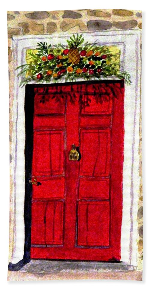 Dobbin House Hand Towel featuring the painting A Colonial Christmas At The Dobbin House Gettysburg by Angela Davies