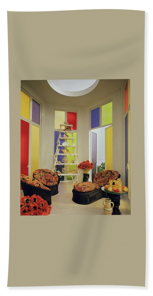 Mallory-tills Inc Bath Towel featuring the photograph A Colorful Living Room by Wiliam Grigsby