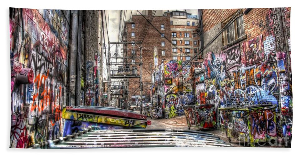 Graffiti Bath Sheet featuring the photograph A Colorful Place To Sleep by Anthony Wilkening