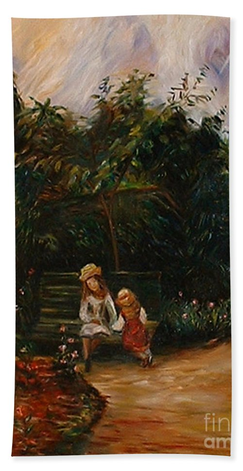 Classic Art Bath Sheet featuring the painting A Corner Of The Garden At The Hermitage by Silvana Abel