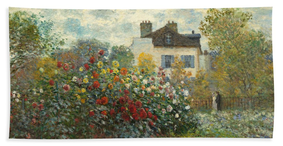 French Bath Towel featuring the painting A Corner Of The Garden With Dahlias by Claude Monet