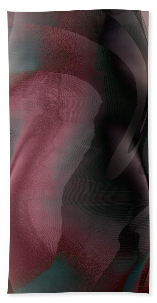 Abstract Bath Sheet featuring the digital art A Craft At Landing by James Barnes