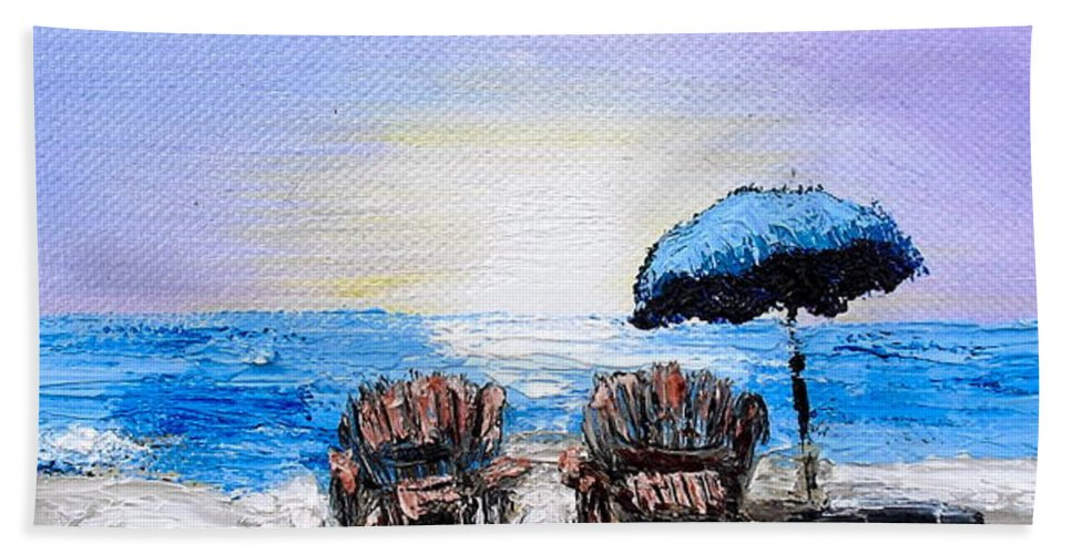 Beach Bath Sheet featuring the painting A Day At The Beach by Melissa Torres