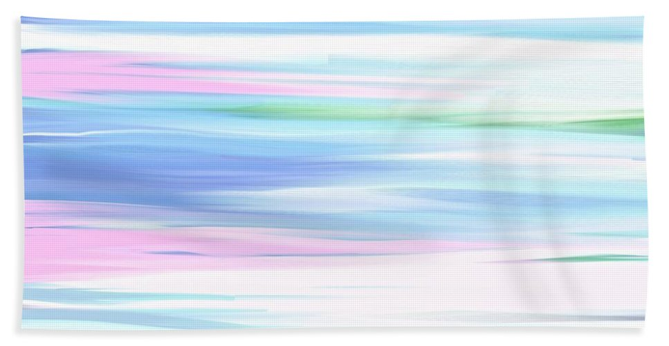 Oil Painting Bath Sheet featuring the painting A Day At The Beach Pastels by Saundra Myles