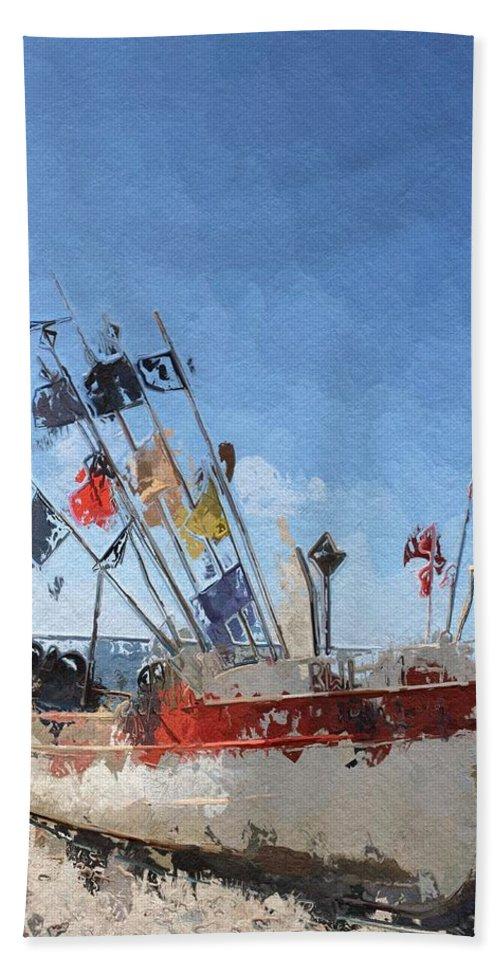 Boat Ship Trawler Fish Flag Beach Coast Sea Water Sand Sun Summer Seascape Bath Sheet featuring the painting A Day At The Beach by Steve K
