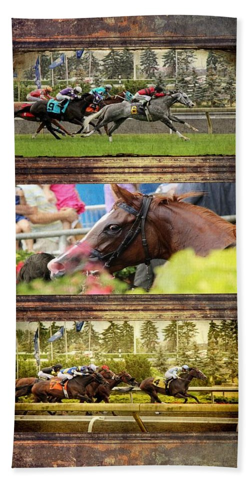 Horse Hand Towel featuring the photograph A Day At The Races by Davandra Cribbie