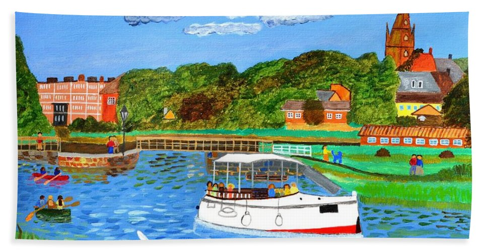 River Bath Sheet featuring the painting A Day On The River In Exeter by Magdalena Frohnsdorff