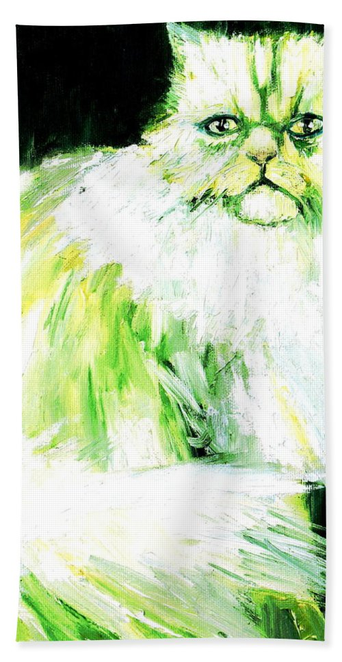 Cat Bath Sheet featuring the painting A Dionysan Goddess Of Delight by Fabrizio Cassetta