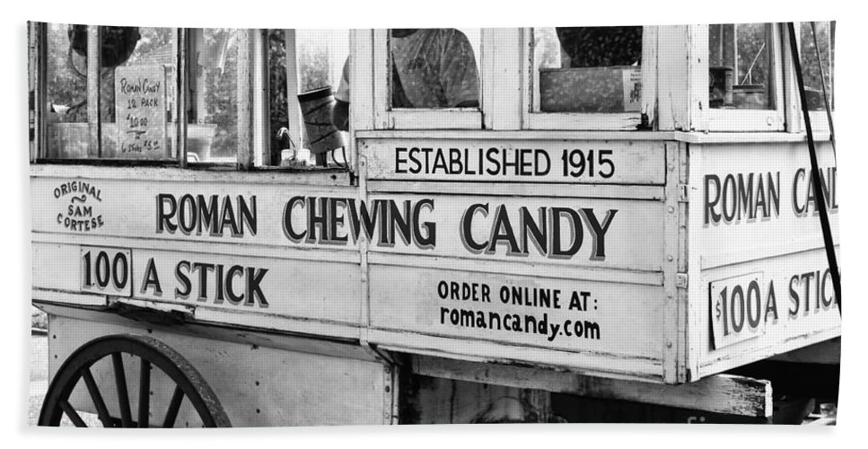 Kathleen K Parker Fine Art Bath Towel featuring the photograph A Dollar A Stick Roman Chewing Candy In Bw by Kathleen K Parker