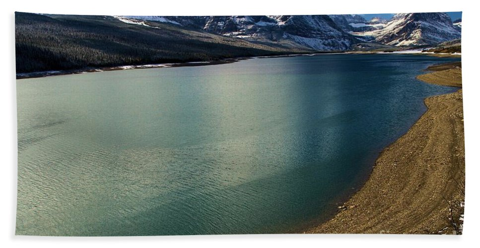 Lake Sherburne Hand Towel featuring the photograph A Dusting On Glacier by Adam Jewell