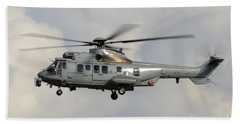 Horizontal Bath Sheet featuring the photograph A Eurocopter As532 Cougar Of The Royal by Remo Guidi