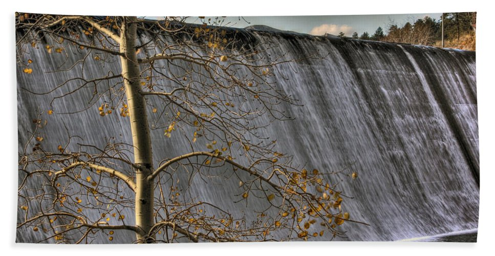 Evergreen Bath Sheet featuring the photograph A Fall Waterfall by Chance Chenoweth