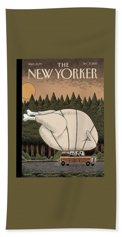 Thanksgiving Bath Sheet featuring the painting A Family Rides Home With A Giant Turkey Tied by Tom Gauld