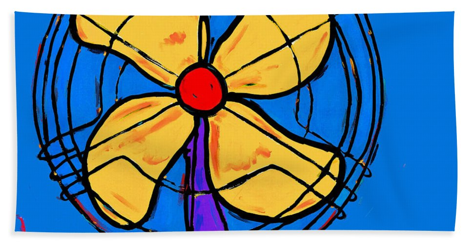 Fan Hand Towel featuring the painting A Fan Of Color by Dale Moses