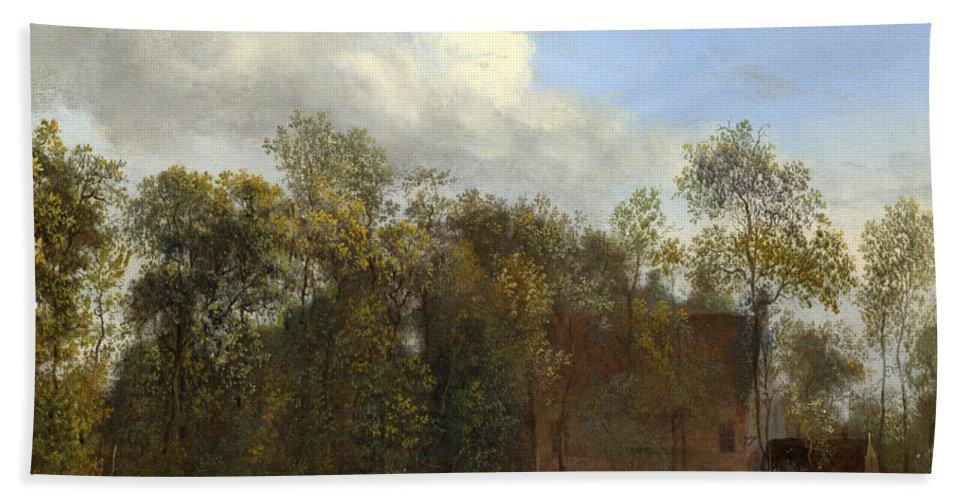 Jan Van Der Heyden Bath Sheet featuring the painting A Farm Among Trees by Jan van der Heyden