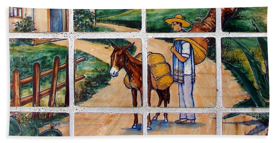 Kansas City Bath Sheet featuring the photograph A Farm Scene On Plaza Tiles by Cassie Peters