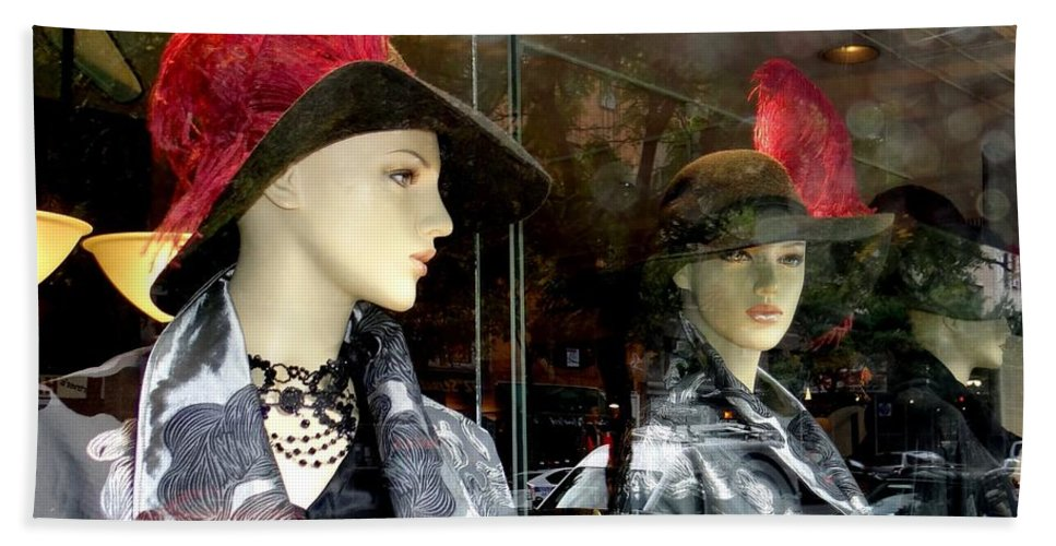 Mannequins Bath Sheet featuring the photograph A Feather In Her Hat by Ed Weidman