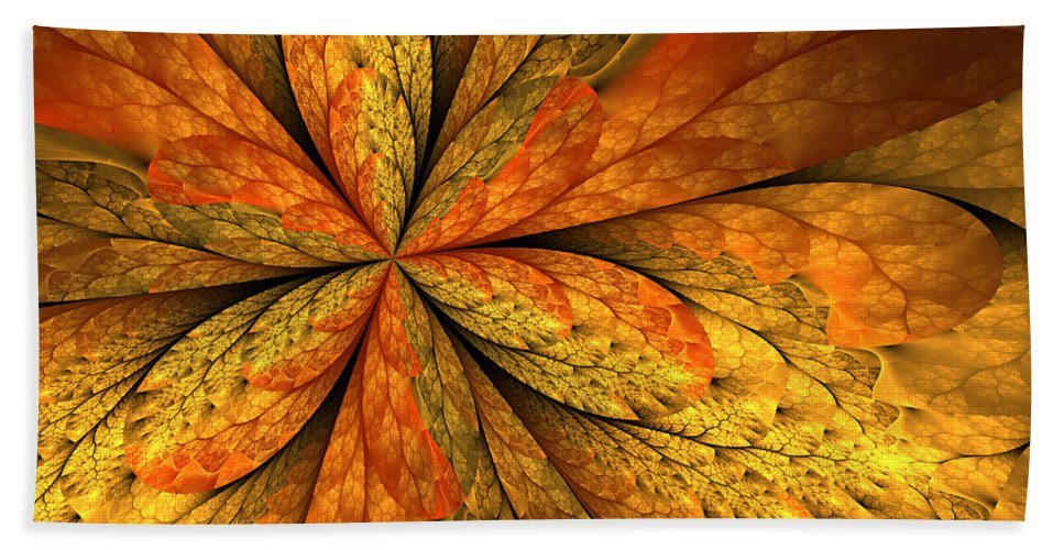 Abstract Hand Towel featuring the digital art A Feeling Of Autumn by Gabiw Art