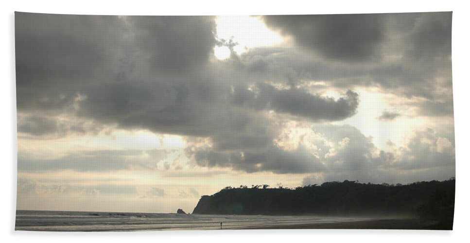 Beach Hand Towel featuring the photograph A Figure Strolls Along The Beach, Playa by Kyle Glover