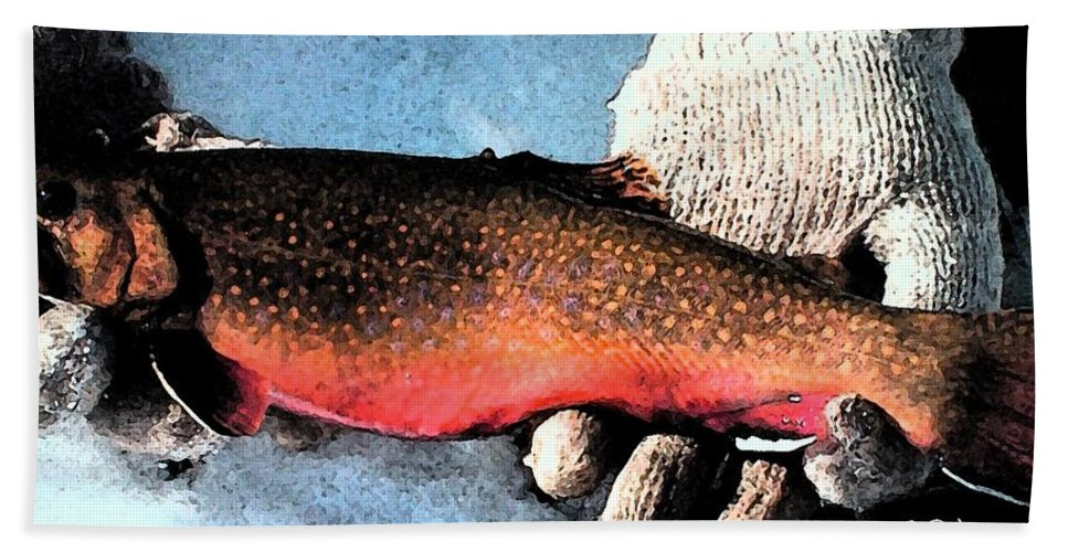 Fish Hand Towel featuring the painting A Fine Catch by George Pedro