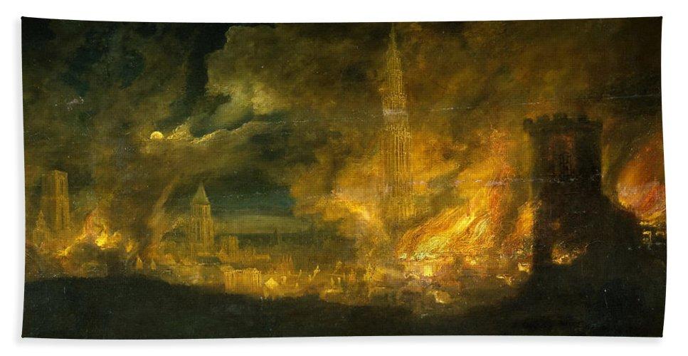 Daniel Van Heil Bath Sheet featuring the painting A Fire In The City by Daniel van Heil