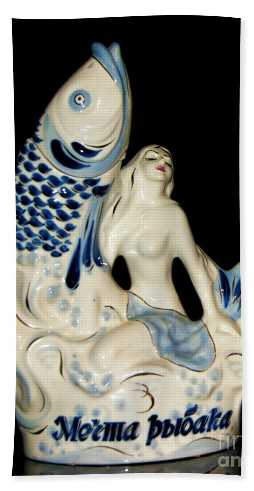 Mermaid Hand Towel featuring the photograph A Fisherman's Dream Russian Vodka Ceramic Bottle by Olga Hamilton