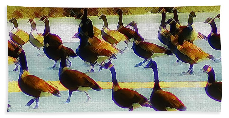 Flock Hand Towel featuring the photograph A Flock Of Geese by Bill Cannon
