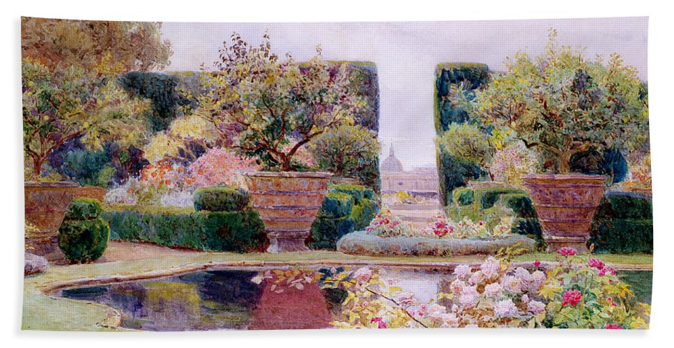 Garden Hand Towel featuring the painting A Formal Garden In Rome by George Samuel Elgood