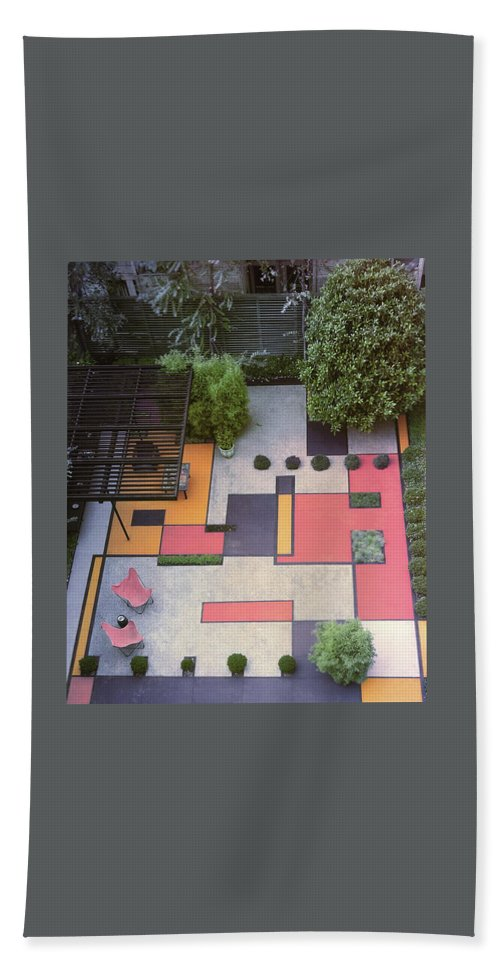 Nobody Bath Towel featuring the photograph A Garden With Colourful Landscaping In Dr by Georges Braun