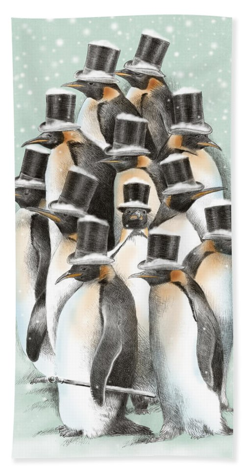 Penguins Bath Towel featuring the drawing A Gathering In The Snow by Eric Fan