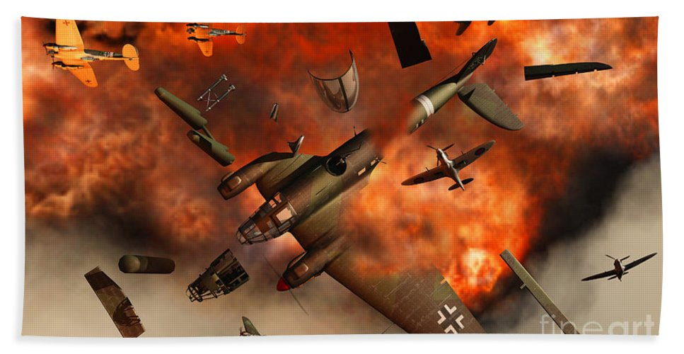 Artwork Hand Towel featuring the digital art A German Heinkel Bomber Plane Blowing by Mark Stevenson