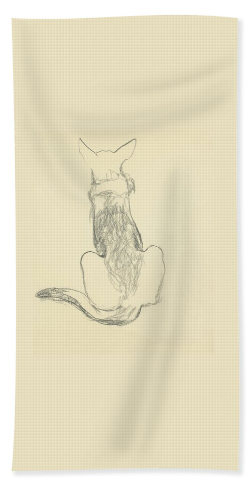 Animal Bath Towel featuring the digital art A German Shepherd by Carl Oscar August Erickson
