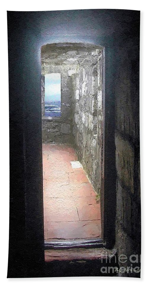 Doorway Bath Sheet featuring the painting A Glimpse Of The Sea by RC DeWinter