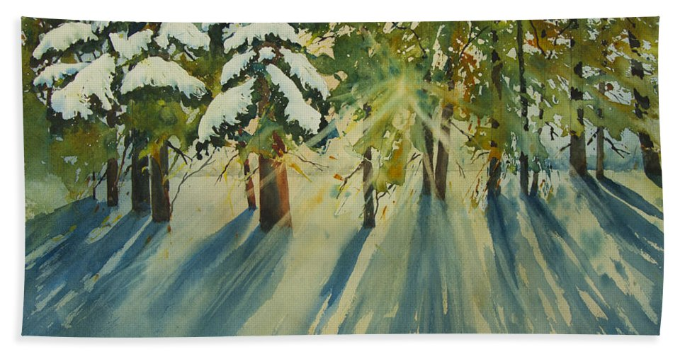 Forest Hand Towel featuring the painting A Glow In The Forest by Dee Carpenter
