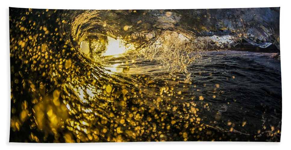 Surf Hand Towel featuring the photograph A Golden Barrel At The Wedge by Kyle Morris