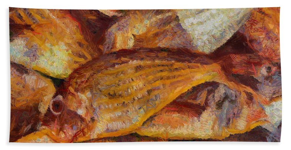 Seafood Hand Towel featuring the painting A Good Catch Of Fish by Dragica Micki Fortuna