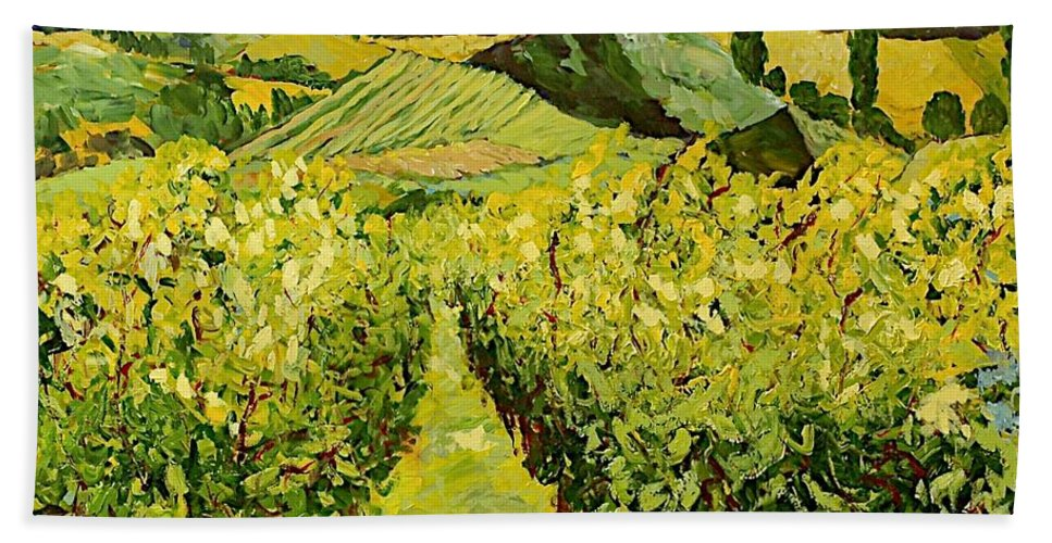 Landscape Hand Towel featuring the painting A Good Year by Allan P Friedlander
