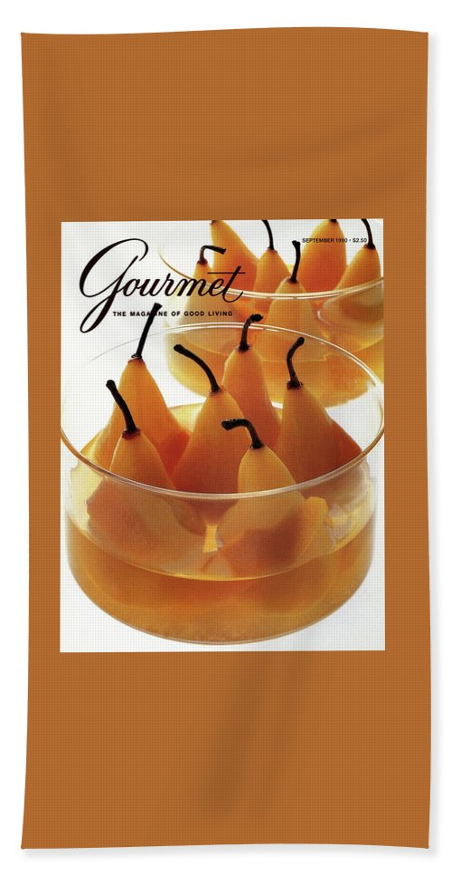 Food Bath Towel featuring the photograph A Gourmet Cover Of Baked Pears by Romulo Yanes