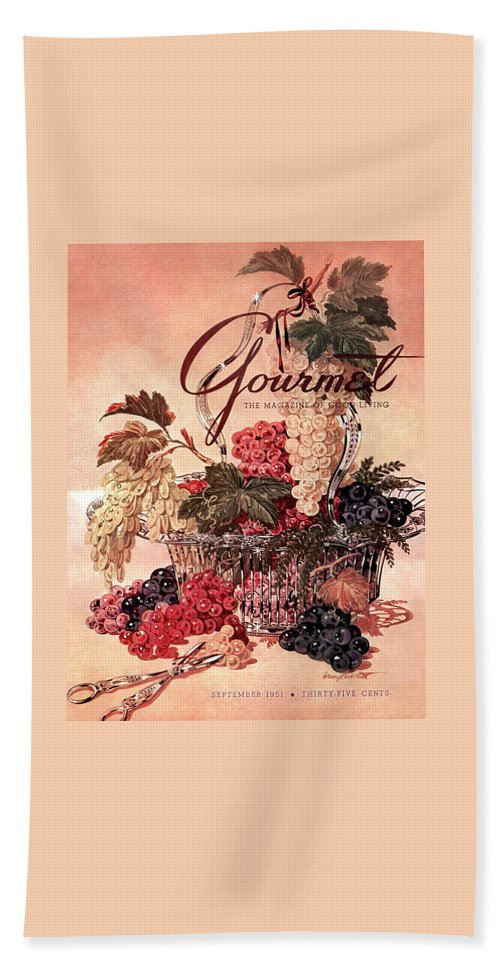 Illustration Bath Towel featuring the photograph A Gourmet Cover Of Grapes by Henry Stahlhut