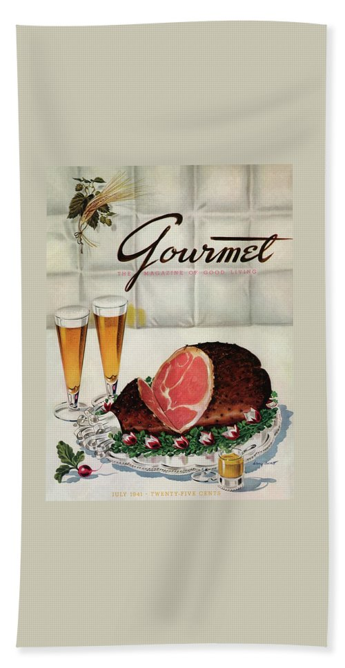 Illustration Bath Towel featuring the photograph A Gourmet Cover Of Ham by Henry Stahlhut